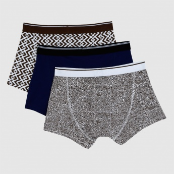 Printed Trunks with Elasticised Waistband - Set of 3