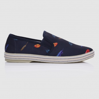 Printed Slip-On Shoes with Elasticised Waistband