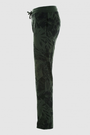 Printed Full Length Pants with Elasticised Waistband and Drawstring