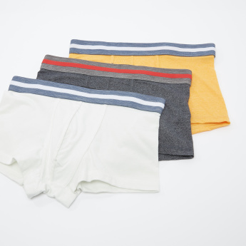 Set of 3 - Assorted Trunks with Striped Elasticised Waistband