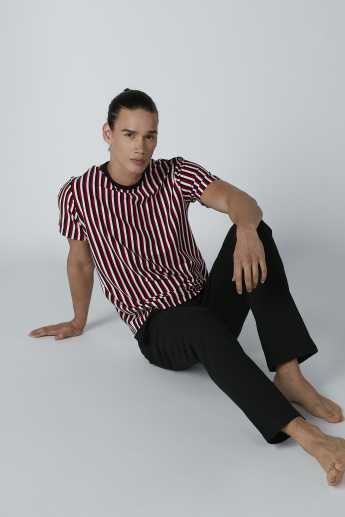 Striped Short Sleeves T-shirt and Solid Pyjama Set