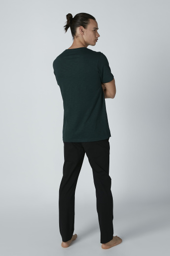 Solid Round Neck T-shirt and Pyjama Set