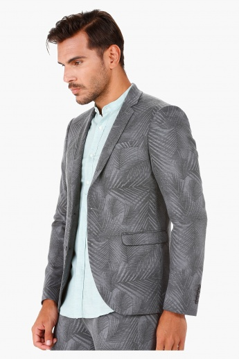 Printed Casual Blazer with Shawl Collar in Slim Fit