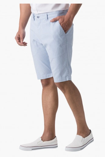 Cotton Dobby Shorts in Slim Fit