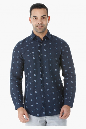 Printed Linen Shirt with Long Sleeves in Slim Fit