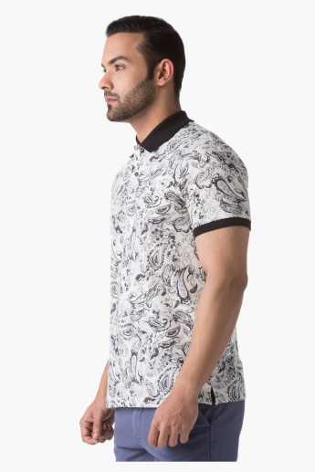 Paisley Print Polo Neck T-Shirt with Short Sleeves in Slim Fit