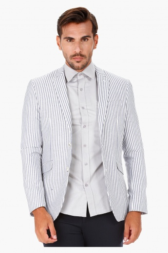 Striped Casual Blazer with Notch Lapel in Slim Fit