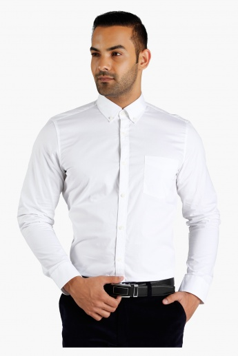 Button Down Collar Cotton Shirt in Regular Fit