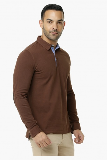 Polo Neck Cotton T-Shirt with Long Sleeves in Slim Fit