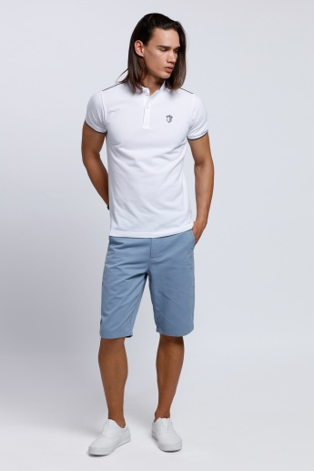 Mandarin Neck T-Shirt with Short Sleeves