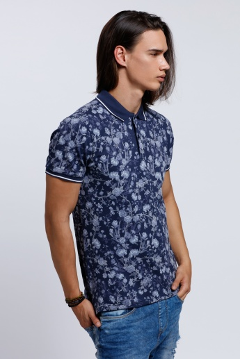 Organic Cotton Printed Polo Neck T-Shirt with Short Sleeves