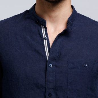 Mandarin Collar Shirt with Long Sleeves and Pocket Detail