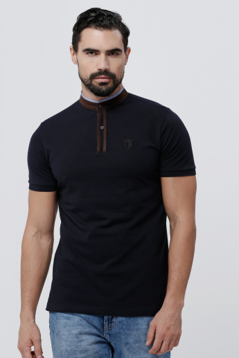Embroidered High Neck T-Shirt with Short Sleeves