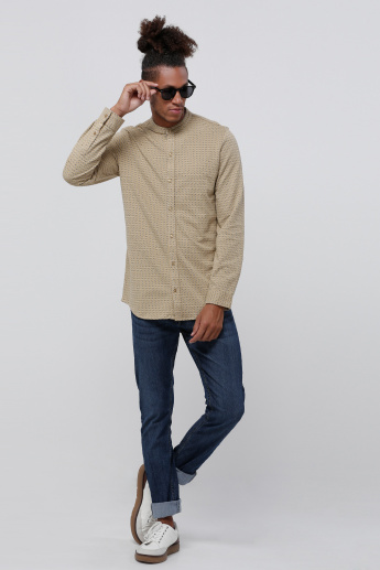 Printed Long Sleeves Knit Shirt with Mandarin Neck