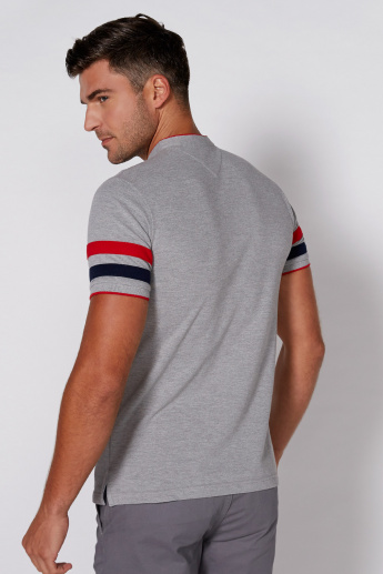Striped T-Shirt with Mandarin Collar and Short Sleeves
