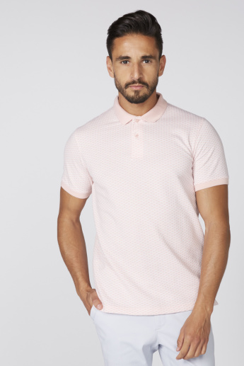 Textured T-Shirt with Polo Neck and Short Sleeves