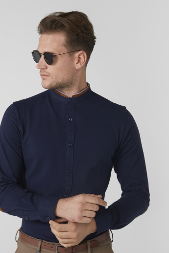 Mandarin Collar Shirt with Elbow Patch Long Sleeves