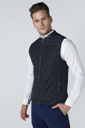 Stitch Detail Gilet with Zip Closure and Pockets