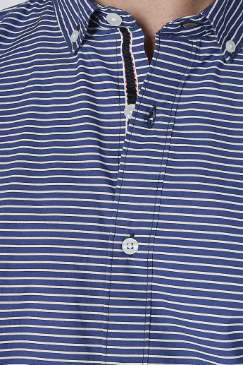 Striped Shirt with Long Sleeves and Button-Down Collar