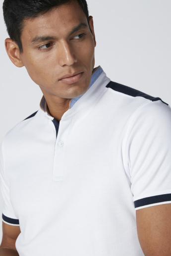 Polo Neck T-Shirt in Slim Fit with Short Sleeves