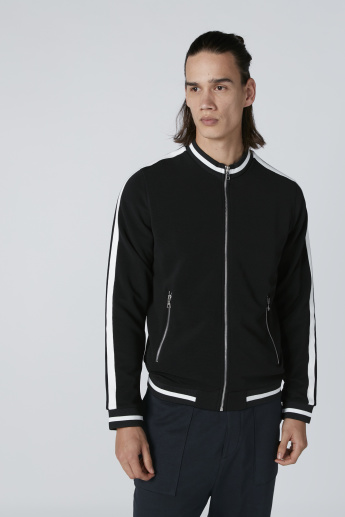 Tape Detail Bomber Jacket with Long Sleeves and Zip Closure