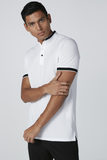 Embroidered and Printed T-Shirt with Mandarin Collar and Short Sleeves