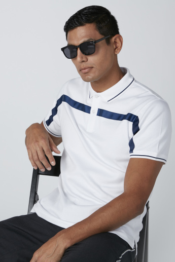 Cut and Sew Polo Neck T-Shirt with Short Sleeves and Tape Detail