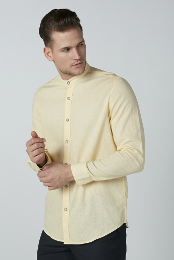 Solid Shirt with Long Sleeves and Mandarin Collar