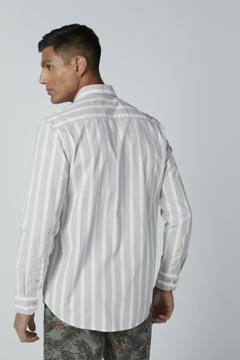 Striped Casual Shirt with Long Sleeves and Spread Collar