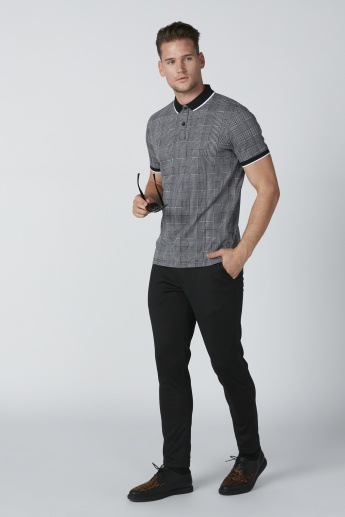 Chequered T-Shirt with Polo Neck and Short Sleeves