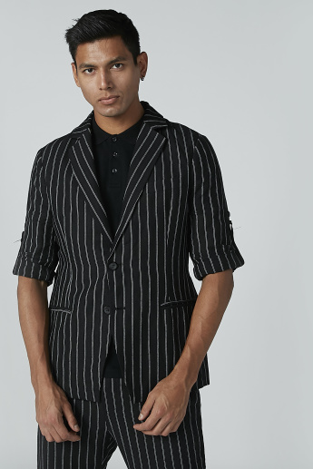 Striped Notched Lapel Blazer with Welt Pockets