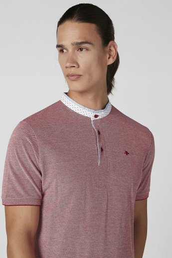 Sustainability Slim Fit Textured T-shirt with Henley Neck