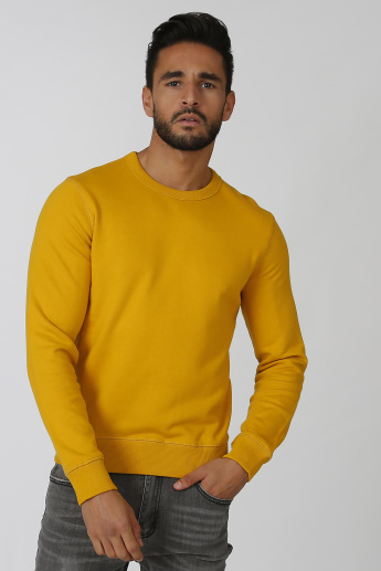 Bossini Plain Sweatshirt with Round Neck and Long Sleeves
