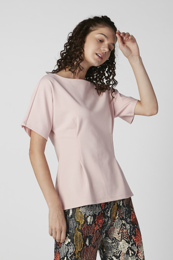 Bossini Plain Top with Boat Neck and Extended Sleeves