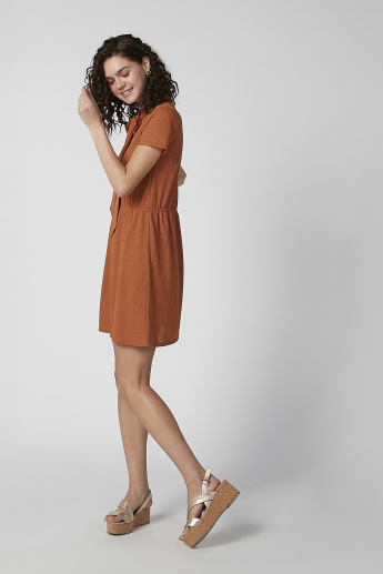 Bossini Textured Mini A-line Dress with Bow Detail and Short Sleeves