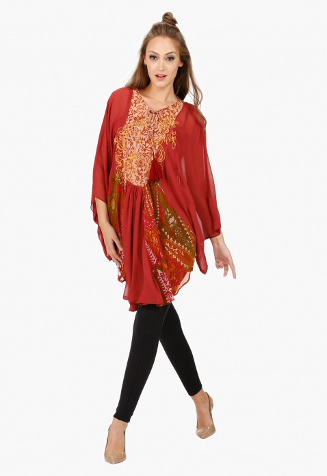 Printed Tunic with Scoop Neck and Long Sleeves