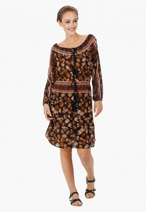Printed Off-shoulder Tunic Dress