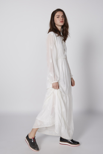 Embroidered Maxi Dress with Long Sleeves and Tie Up