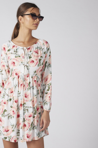 c0d220aa8 Floral Printed Dress with Long Sleeves and Tie Ups | Dresses | Regular |  Women | Online Shopping at Centrepoint