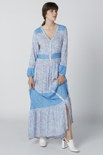 b27c809420b Printed V-Neck Maxi Dress with Complete Placket | Blue