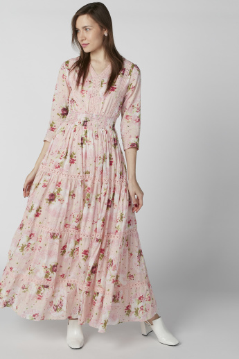f4d011225750fd Floral Printed Maxi Dress with Lace Detail and 3/4 Sleeves | Pink
