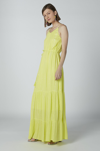 Textured Maxi A-line Dress with Tie Ups and Straps