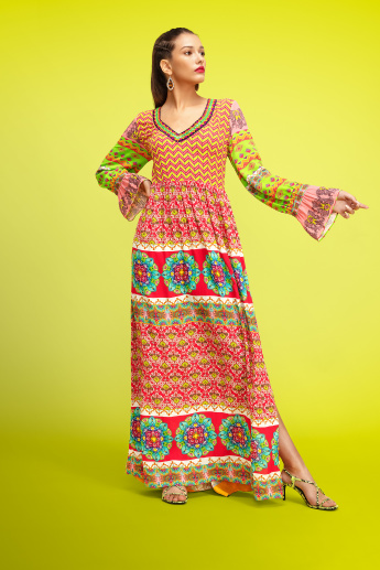 Printed Maxi A-line Dress with V-neck and Bell Sleeves