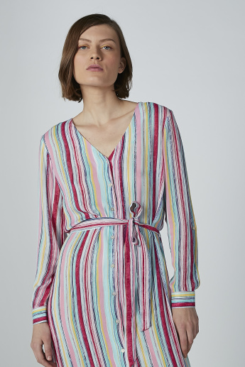 Striped Tunic with V-neck and Tie Ups