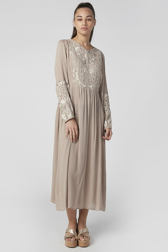 Textured Maxi A-line Dress with Long Sleeves and Schiffli Detail