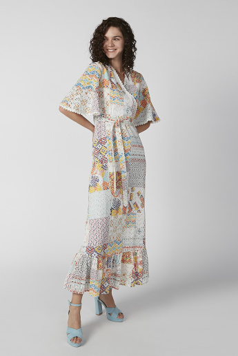 Sustainability Printed Maxi A-line Dress with Flared Sleeves and Tie Ups