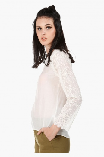 Embroidered Blouse with Long Sleeves and Sheer Yoke in Regular Fit