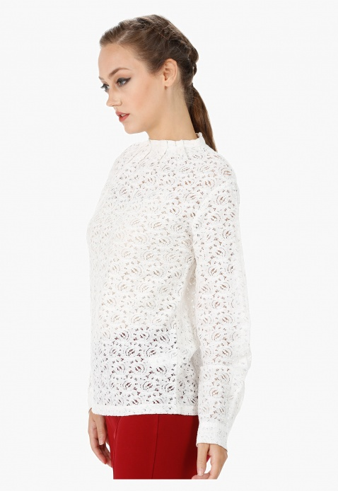 Long Sleeves Blouse with Lace Sheer Yolk