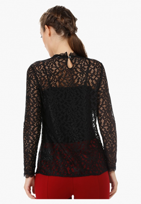 High Neck Long Sleeves Lace Blouse