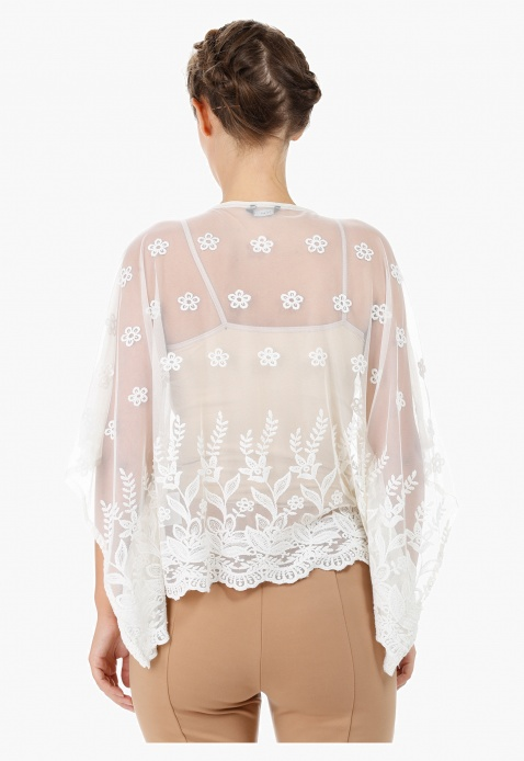Embroidered Mesh Coverup